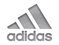 Adidas company sign. Adidas AG is a German multinational corporation,  that designs and manufactures shoes, clothing and accessories Royalty Free Stock Photos