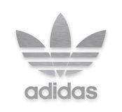 Adidas company sign. Adidas AG is a German multinational corporation,  that designs and manufactures shoes, clothing and accessories Stock Image