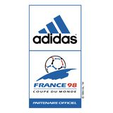 Adidas france98 sponsor logo sports commercial. Adidas AG is a multinational corporation, founded and headquartered in Herzogenaurach, Germany, that designs and stock illustration