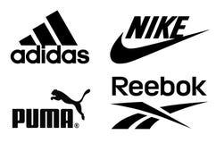 Adidas, Nike, kuguar- och Reebok logoer arkivfoton