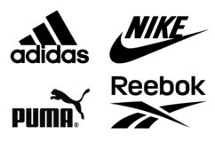 Adidas, Nike, Puma and Reebok logos. Kiev, Ukraine - February 15, 2017: Adidas, Nike, Puma and Reebok logos printed on paper and placed on white background stock photos