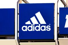 Adidas sign in troisdorf germany. Troisdorf, North Rhine-Westphalia/germany - 16 11 18: adidas sign in troisdorf germany royalty free stock photo