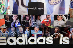 Adidas stand, adidas is all in Stock Image