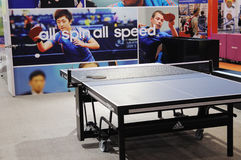 Adidas stand,  all spin all speed Stock Photo