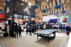 Adidas stand,  all spin all speed Stock Images