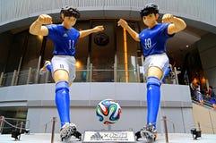 Adidas-Weltcupfußballausstellungen in Hong Kong Stockfoto