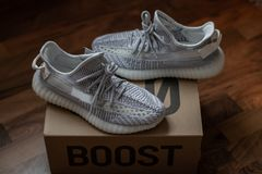 Adidas Yeezy Boost 350 V2 Static standing on the 350 carton. Released on December 26, 2018. royalty free stock image
