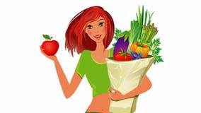 Adiete el concepto Alimento sano Muchacha con el bolso lleno de comida sana