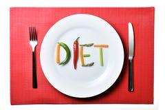 Adiete escrito con las verduras en concepto sano de la nutrición Fotografía de archivo libre de regalías