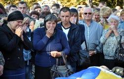 Adieu aux défenseurs tombés du _2 de l'Ukraine Denis Gromovyy Photos stock