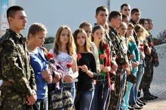 Adieu aux défenseurs tombés du _4 de l'Ukraine Denis Gromovyy Images stock