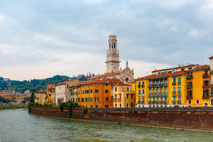 Adige in cloudy summer day, Verona, Italy Stock Photography