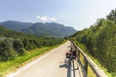 Adige dolina cyklu pas ruchu fotografia stock