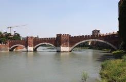 Adige river and the bridge Scaligero. Verona. Italy. Royalty Free Stock Photo