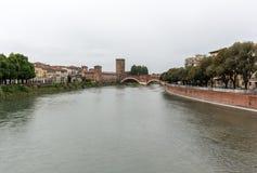 Adige River and Ponte Pietra in Verona Stock Photos