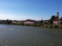 The Adige river in Verona, Italy. City view. Picture was made in 2015 Royalty Free Stock Photo