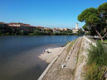 The Adige river in Verona, Italy. City view. Picture was made in 2015 Stock Image