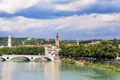 Adige river in Verona , Italy. Adige River, Verona , Italy in cloudy summer day Stock Photo