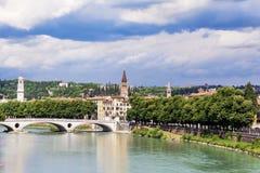 Adige river in Verona ,Italy. Adige River, Verona ,Italy in cloudy summer day Stock Photo