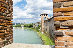 Adige river view through brick wall Stock Photography