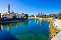Adige rzeka, Verona Obrazy Stock