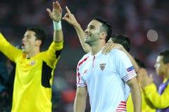 Adil Rami feiert den Sieg Stockfotos