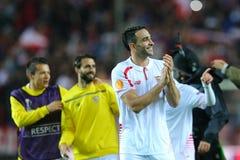 Adil Rami feiert den Sieg Stockbilder