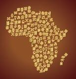 Adinkra-Symbol-Karte von Afrika Stockbilder