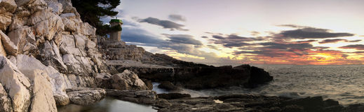 Adiratic panorama sunset Stock Photography