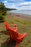 Adirondack Chair. Over looking Lake Superior along the north shore region of Minnesota Royalty Free Stock Photography