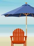 Adirondack Chair at Beach. Adirondack Chair and Market Umbrella at beach; Chair and Umbrella are complete. Easy-edit layered file Stock Photos