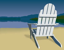 Adirondack Chair Scene. Adirondack chair on a beach that has a view of a mountain ringed lake. Vector Illustration Stock Image