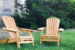 Adirondack chairs at the cottage Royalty Free Stock Photos