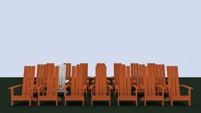 Adirondack chairs. 3D illustration red and white Adirondack chairs Stock Photo