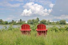 Adirondack Chairs and Landscape Stock Image