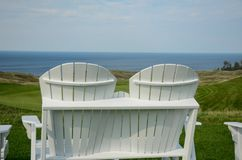 Overlooking the 18th hole, Arcadia Bluffs, Michigan royalty free stock photo