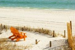 Adirondack Chairs. Pair of Adirondack chairs on Panama City Beach in Panama City, Florida Royalty Free Stock Photography