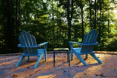 Adirondack Chairs on a Patio Stock Photo