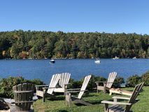 Adirondack chairs by the Sea stock photography