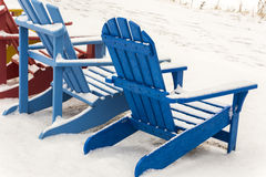 Adirondack Chairs in Snow Royalty Free Stock Photos