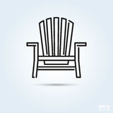 Adirondack deck chair icon. Deck chair Line Icon Vector Stock Photo