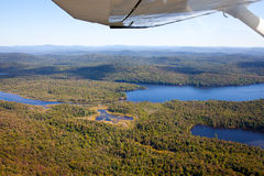 Adirondack forests, lakes, creeks and mountains aerial terrain v Stock Images