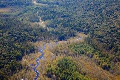Adirondack lasy, jeziora, zatoczki i góra powietrzny teren v, Zdjęcia Stock