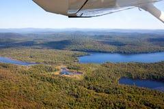 Adirondack lasy, jeziora, zatoczki i góra powietrzny teren v, Obrazy Stock