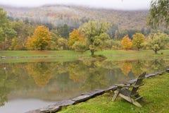 Adirondack stol på det Catskills dammet royaltyfri foto