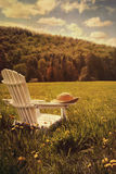 Adirondack Stuhl auf einem Gebiet des Grases Stockbilder