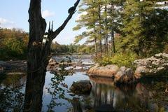 Adirondacks, Flusssteine am See Durant Stockbild