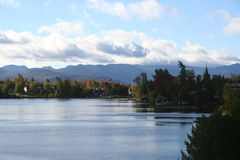 Adirondacks, Mirror Lake, Lake Placid NY Stock Photography