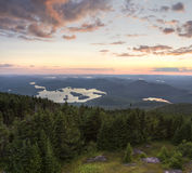 Adirondacks Sunset from Blue Mountain. Colorful summer sunset view from the Blue Mountain Fire Tower in the Adirondacks Mountains of New York Stock Photos