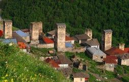 Adishi-Dorf in Svaneti Stockbild